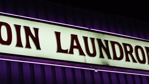Close-up of a commercial laundromat sign Royalty-free stock video