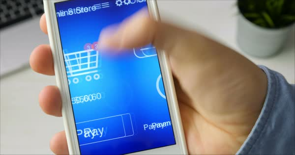 Paying for online shopping using smartphone application Royalty-free stock video