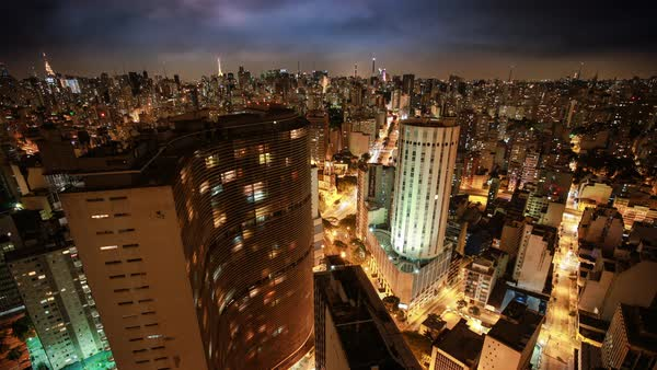 Timelapse of cityscape of downtown Sao Paulo at night Royalty-free stock video