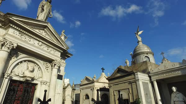 Cementario Recoleta pan right crypts looking up Royalty-free stock video