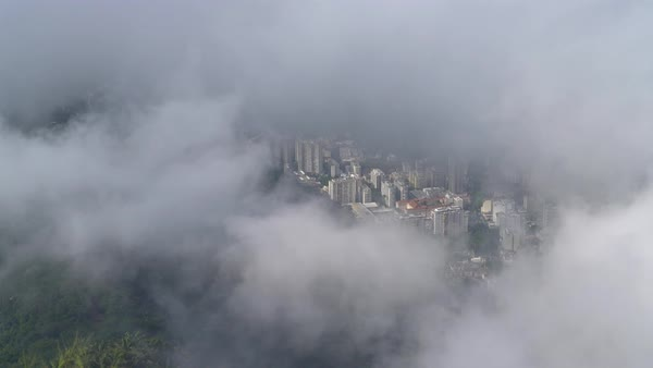 Looking down on Rio through the clouds on Corcovado Royalty-free stock video