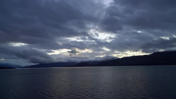 Dramatic sky over Patagonian fjord Royalty-free stock video