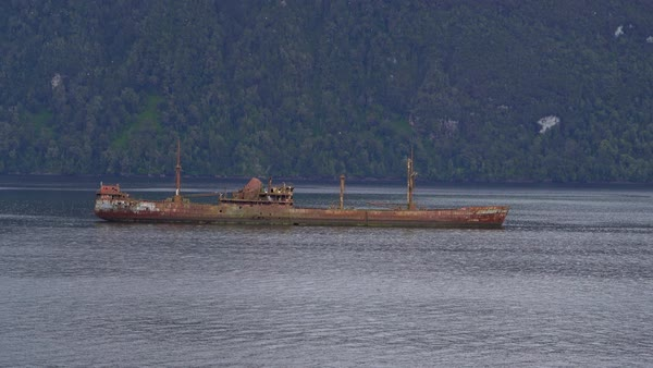 Shipwreck in middle of fjord in Patagonia Royalty-free stock video
