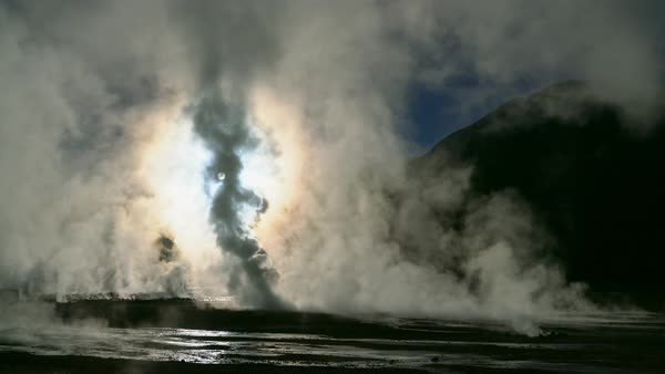 Tatio Geyser field at sunrise Royalty-free stock video