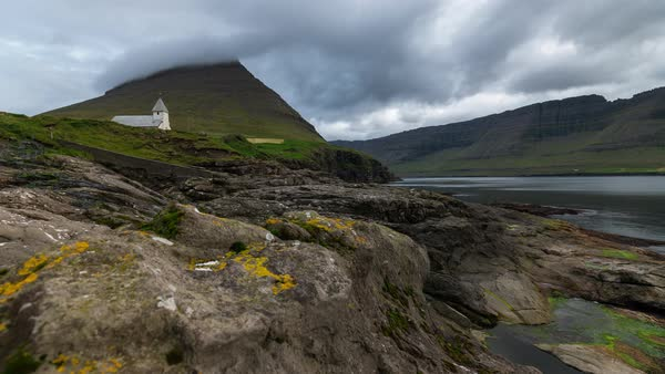 Motion control Timelapse at Vidareidi of a church in Faroe Islands  Royalty-free stock video
