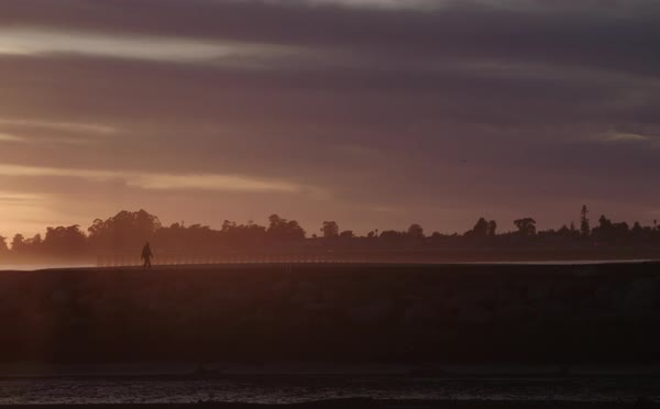 Wide shot of person walking along a beach at sunset Royalty-free stock video