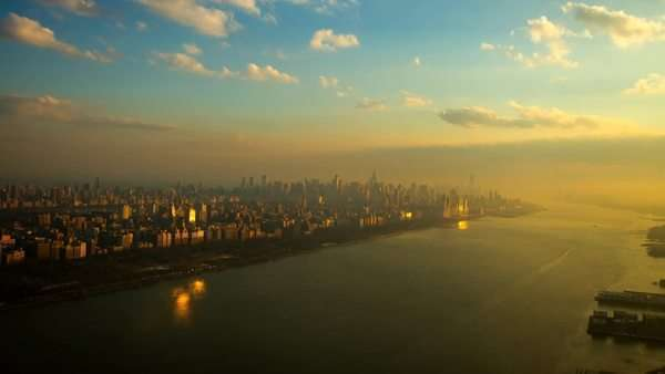 Aerial view over Manhattan, New York, close to sunset. Royalty-free stock video