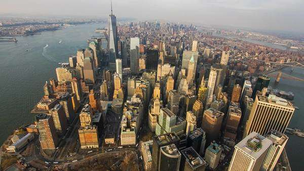Aerial view over lower Manhattan, New York. Royalty-free stock video