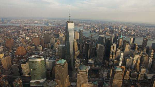 Aerial view over lower Manhattan and the freedom Tower, New York. Royalty-free stock video