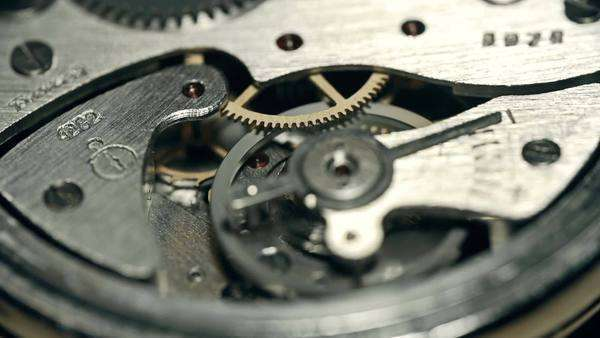 Focus shift from one piece of watch mechanism to another Royalty-free stock video