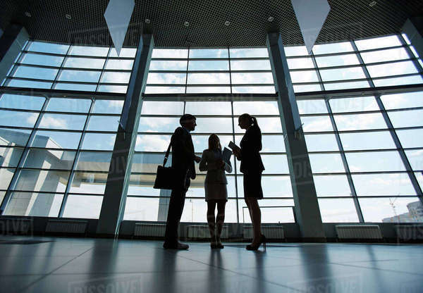 Three co-workers planning work against window inside modern business center Royalty-free stock photo