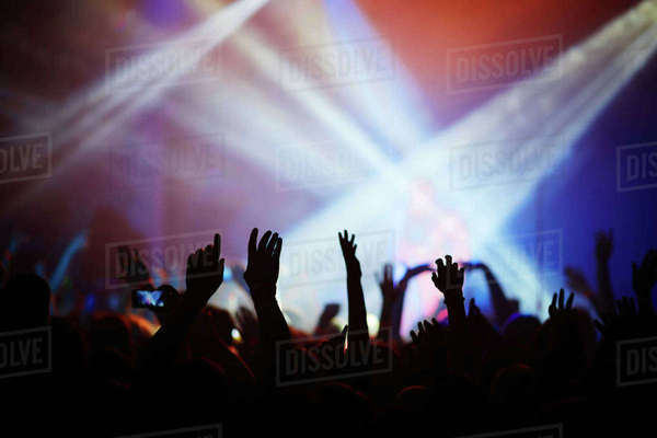 People with hands up having fun at concert Royalty-free stock photo