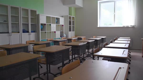 Panoramic shot of empty classroom Royalty-free stock video