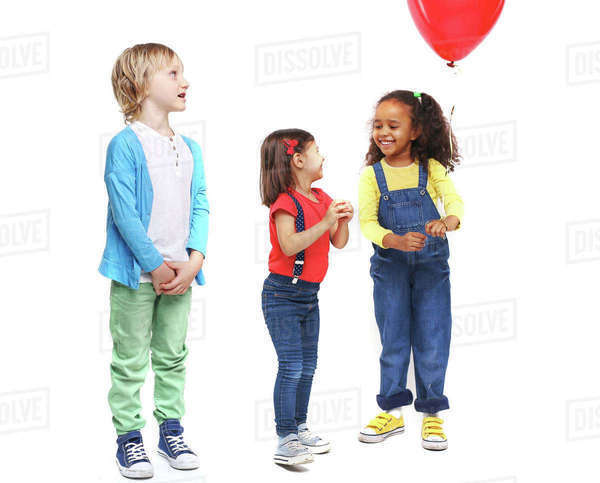 Playful kids in casual-wear having fun Royalty-free stock photo