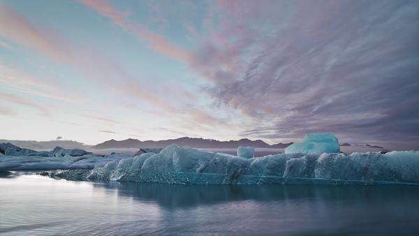 Timelapse Icebergs drifting at sunset in Jokulsarlon Glacier Lagoon Iceland Royalty-free stock video