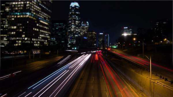 Tilt Shift Timelapse Night Traffic Downtown Los Angeles Royalty-free stock video