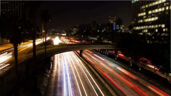 Busy Traffic On Freeway At Night Timelapse Royalty-free stock video