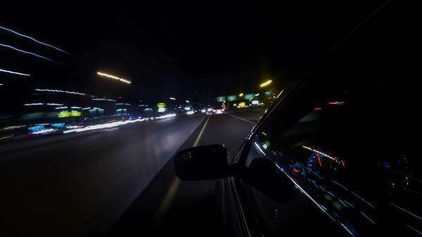 Car Driving At Night on Freeway, Timelapse Royalty-free stock video