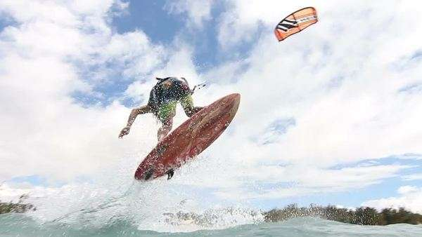 Young Man Kitesurfing In Ocean Royalty-free stock video