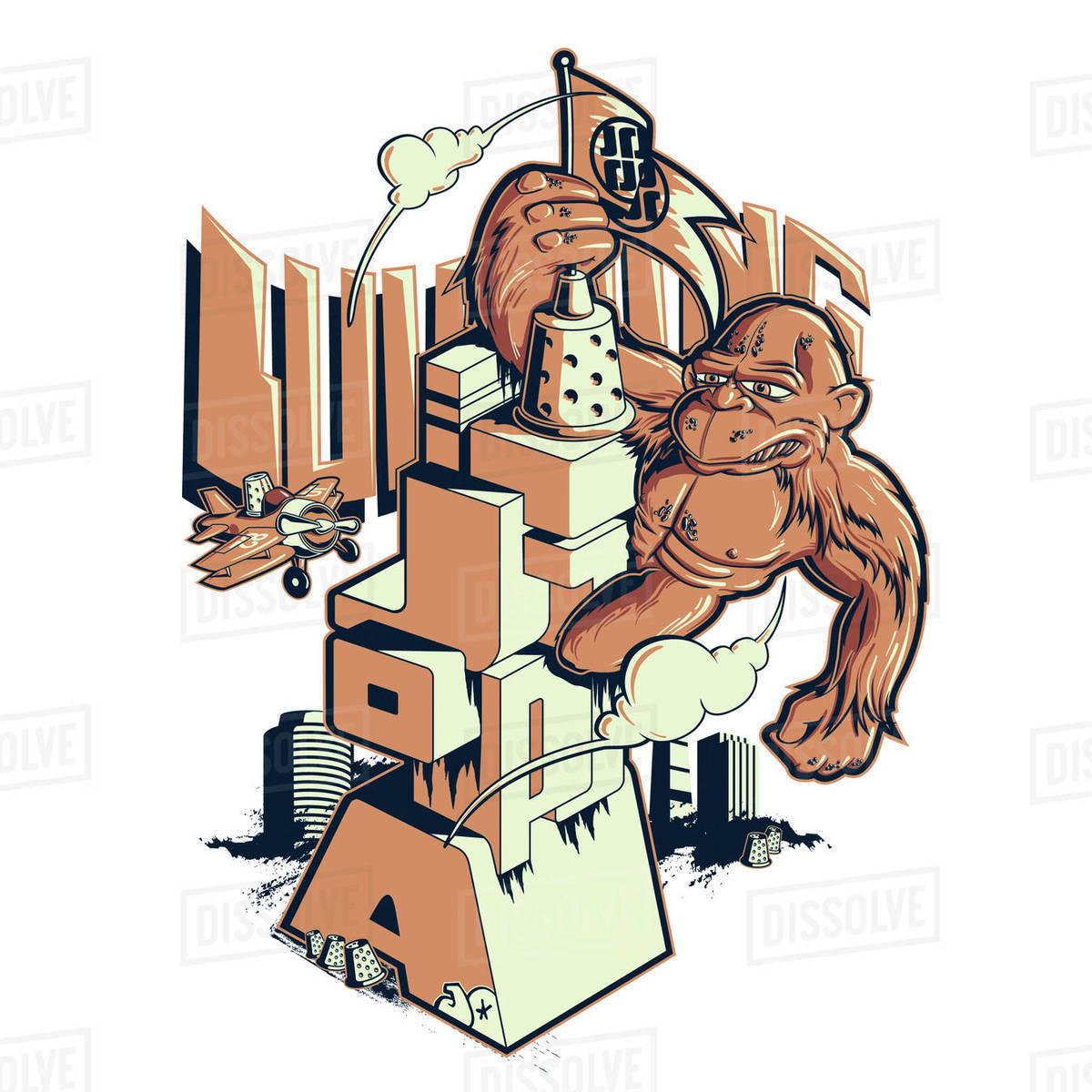 Cartoon illustration of ape on Jotopia structure Royalty-free stock photo
