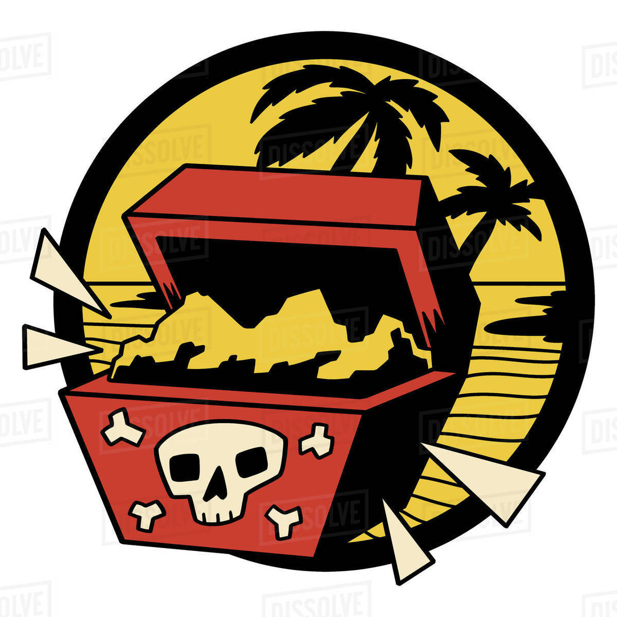 Illustration of pirate treasure box on an island against white background Royalty-free stock photo