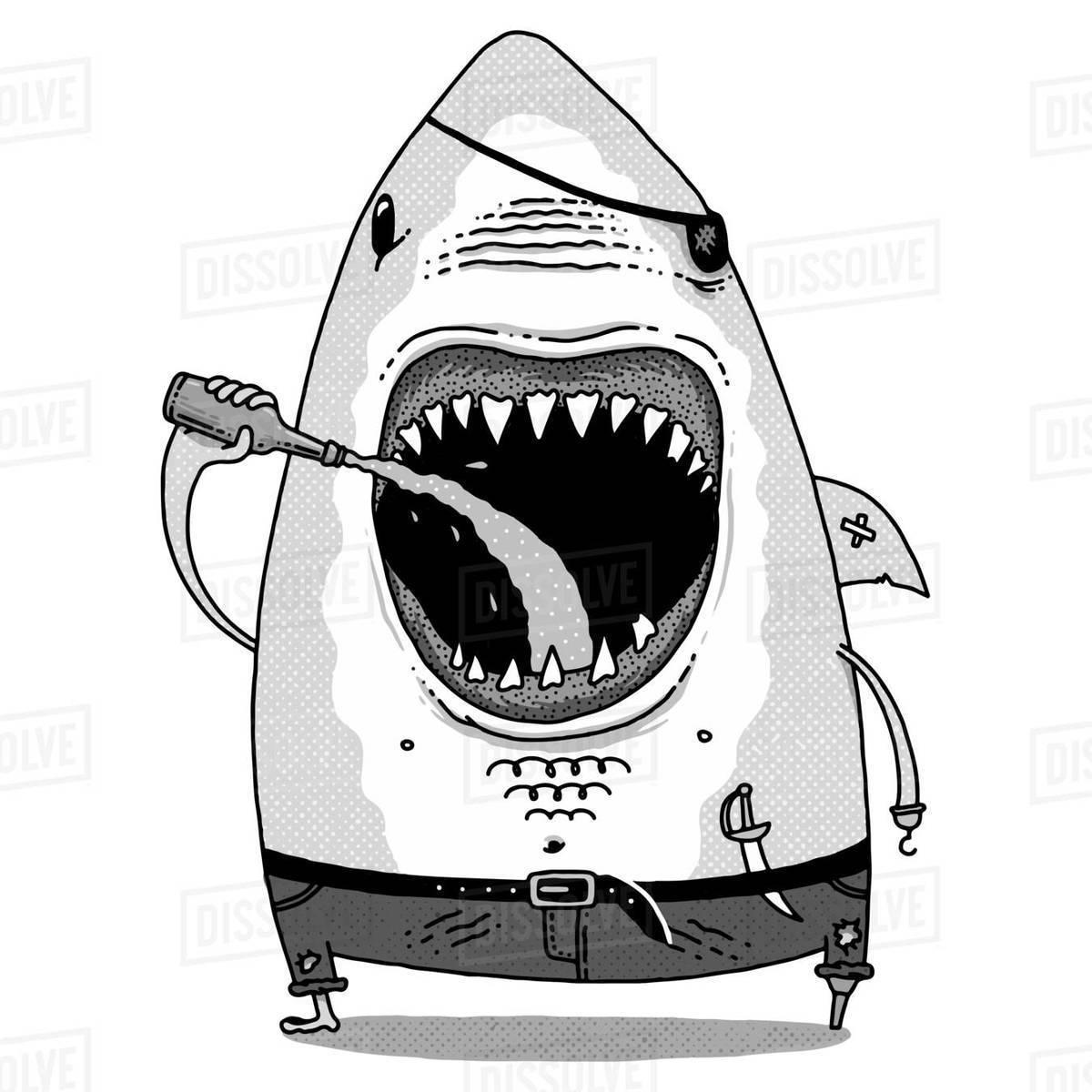 Cartoon illustration of a shark drinking beer against white background Royalty-free stock photo