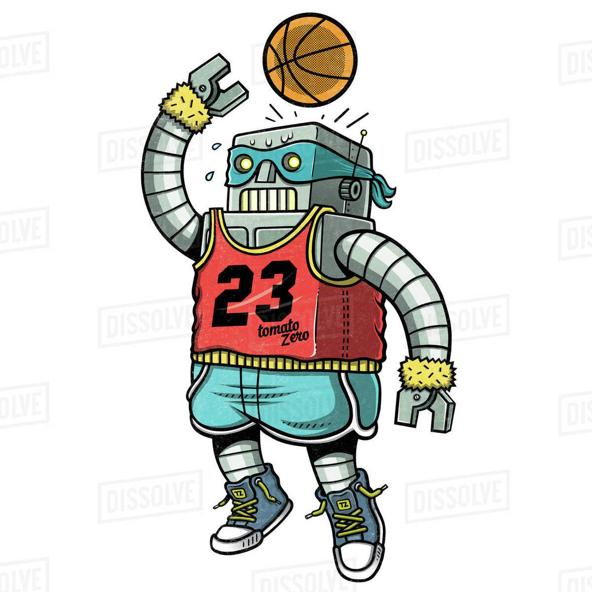 Cartoon illustration of a robot playing basketball against white background Royalty-free stock photo