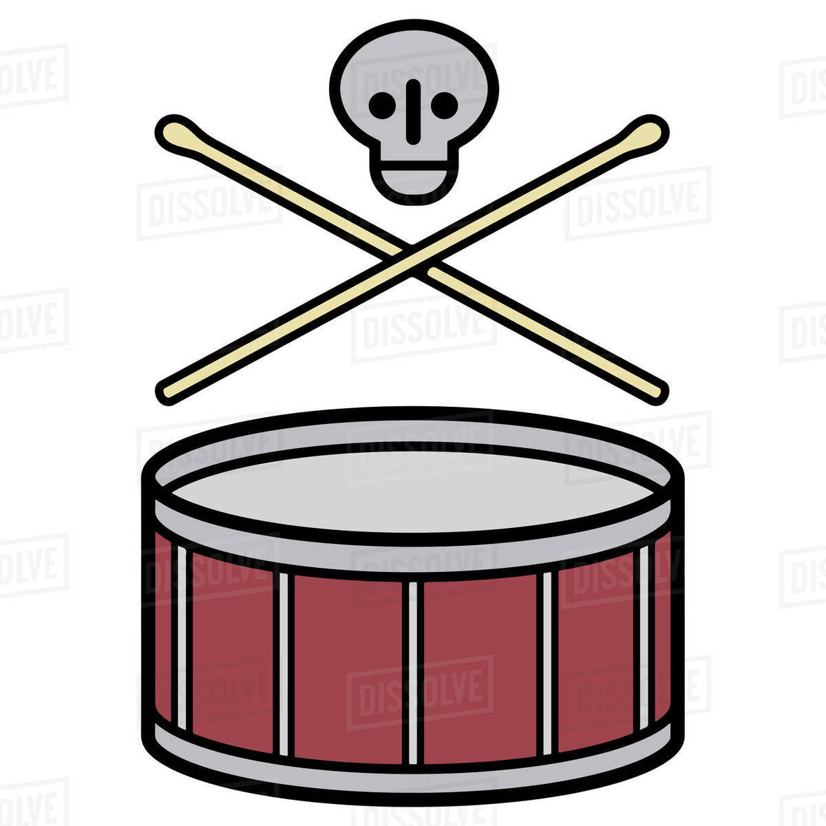 Illustration of drum with drum sticks and skull against white background Royalty-free stock photo