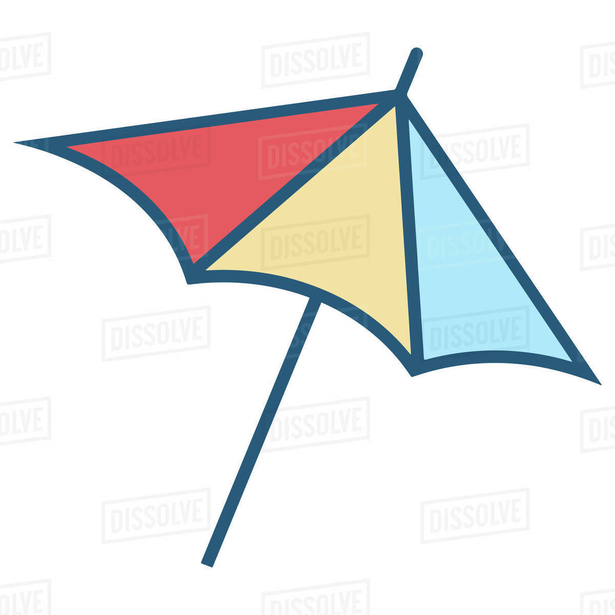 Illustration of colorful parasol isolated on white background Royalty-free stock photo