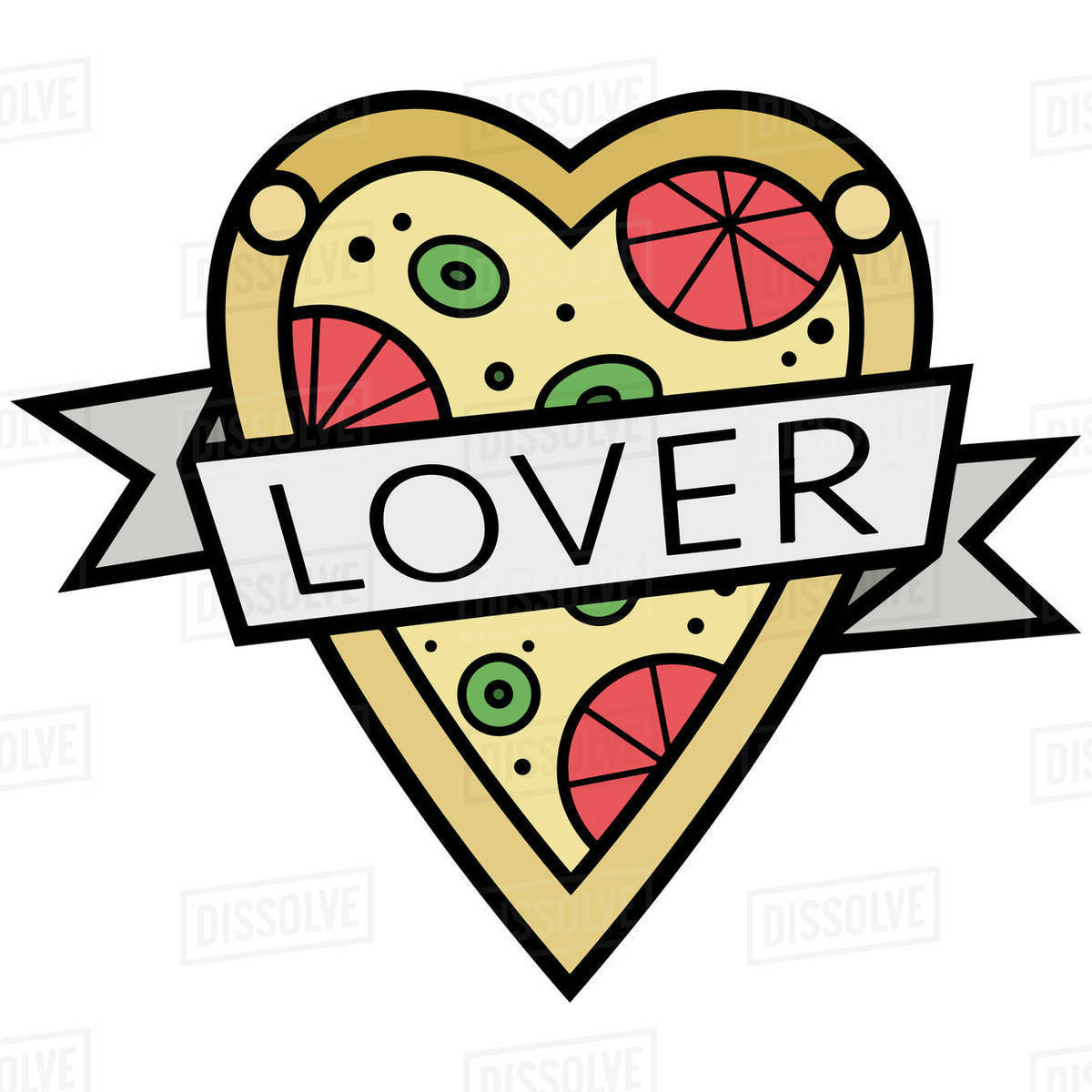 Illustration of heart shaped pizza with ribbon on white background Royalty-free stock photo