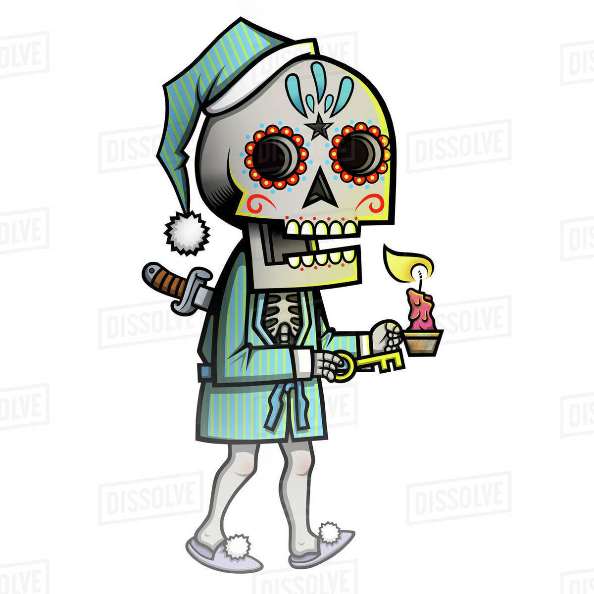 Illustration of skeleton in Santa hat and robe holding candle against white background Royalty-free stock photo