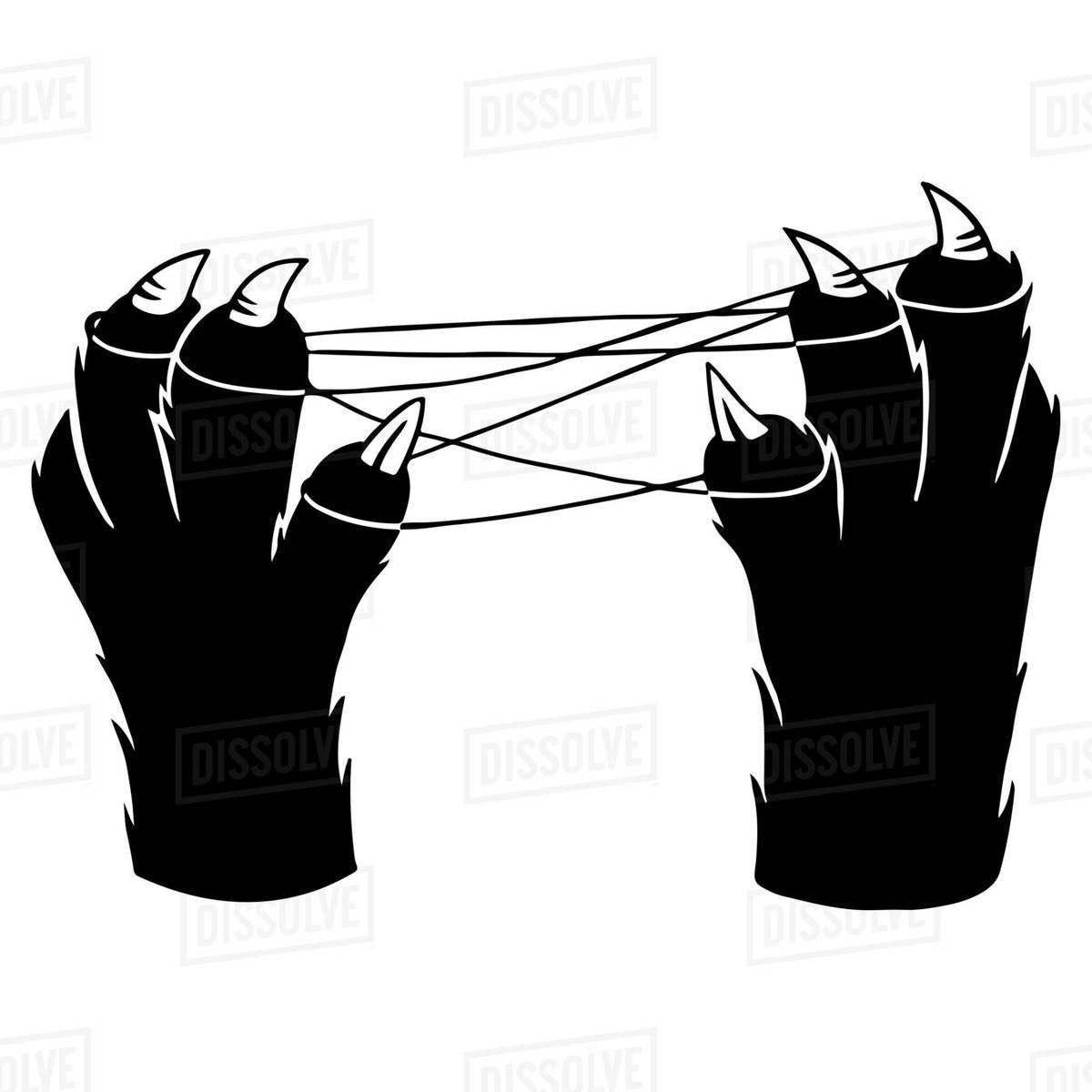 Illustration of a cat's paws playing cat's cradle against white background Royalty-free stock photo