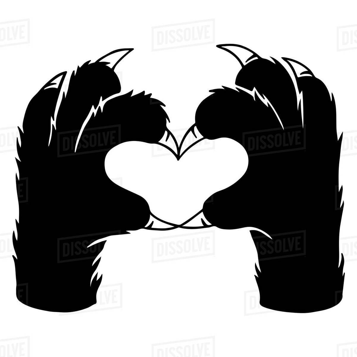 Illustration of a cat's paw making heart shape on white background Royalty-free stock photo