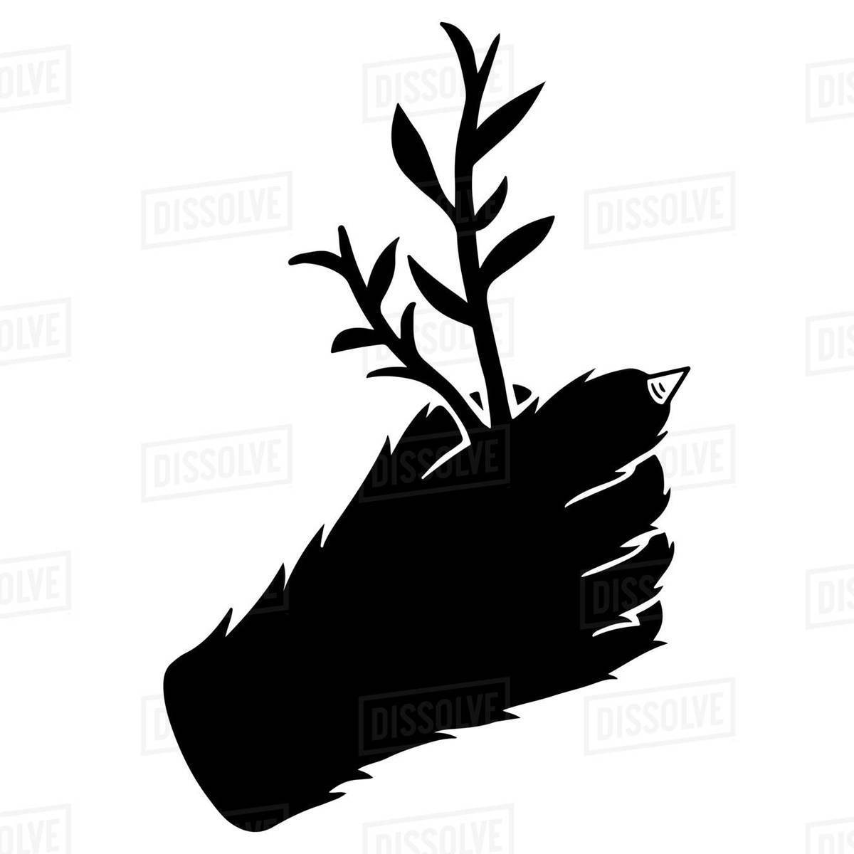 Illustration of a cat's paw holding twig against white background Royalty-free stock photo