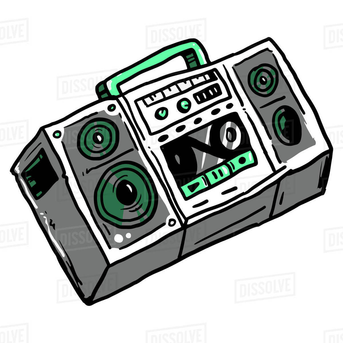 Illustration of boom box isolated on white background Royalty-free stock photo