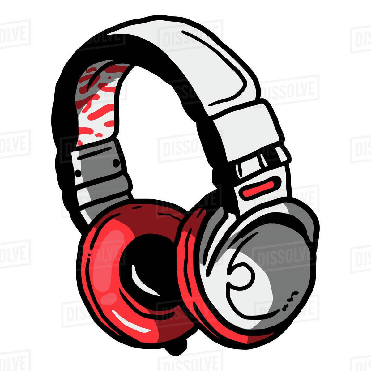 Illustration of headphones isolated on white background Royalty-free stock photo