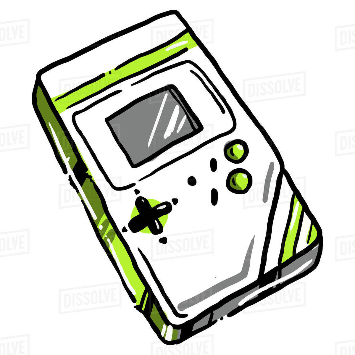 Illustration of portable video game console isolated on white background Royalty-free stock photo
