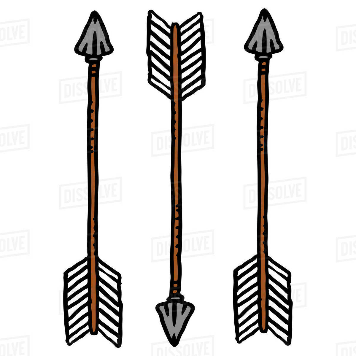 Illustration of arrows isolated on white background Royalty-free stock photo