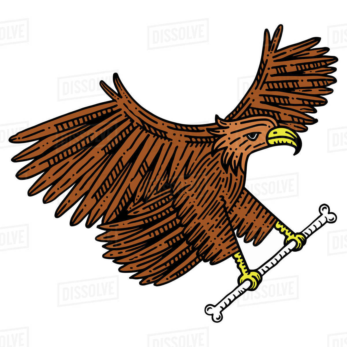 Illustration of eagle with bone flying against white background Royalty-free stock photo