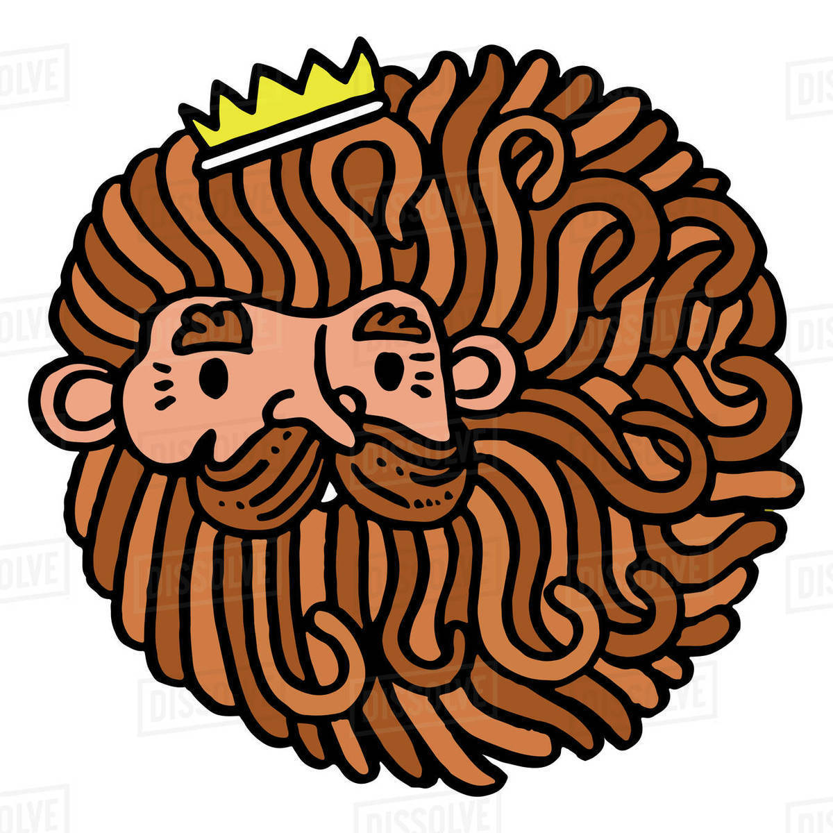 Cartoon illustration of king against white background Royalty-free stock photo