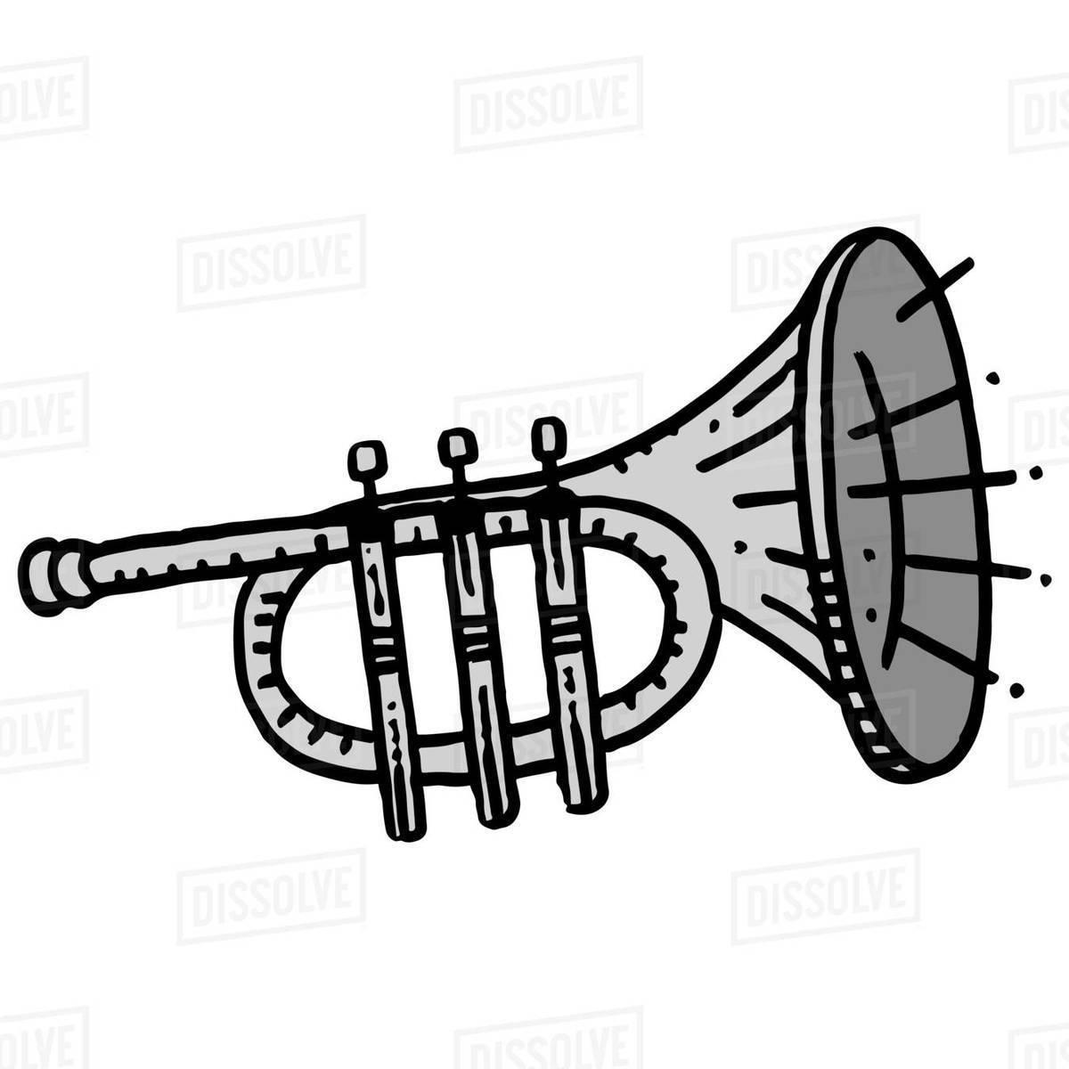 Illustration of trumpet isolated on white background Royalty-free stock photo
