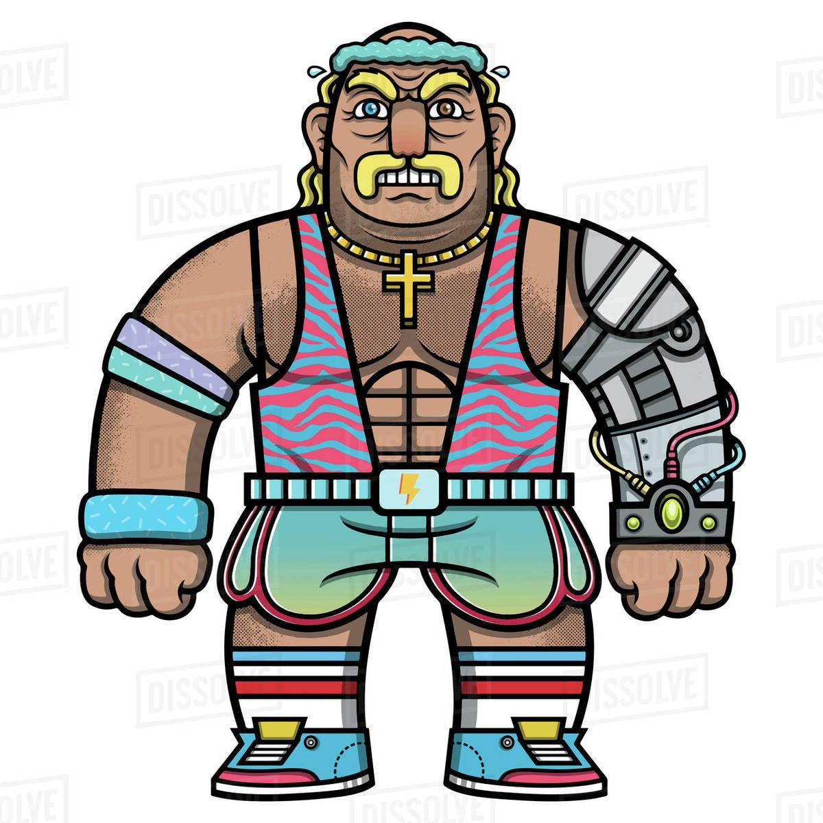 Cartoon illustration of wrestler against white background Royalty-free stock photo