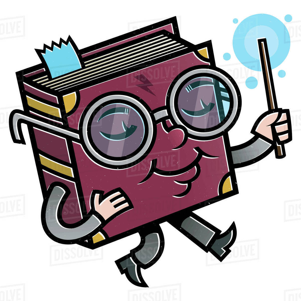Cartoon illustration of book wearing eyeglasses holding baton against white background Royalty-free stock photo