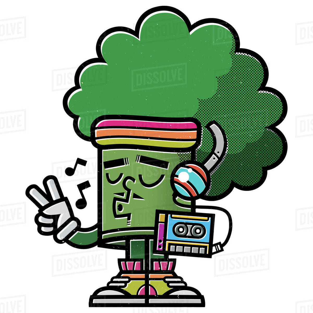 Cartoon illustration of cool broccoli listening to music on tape recorder isolated on white background Royalty-free stock photo