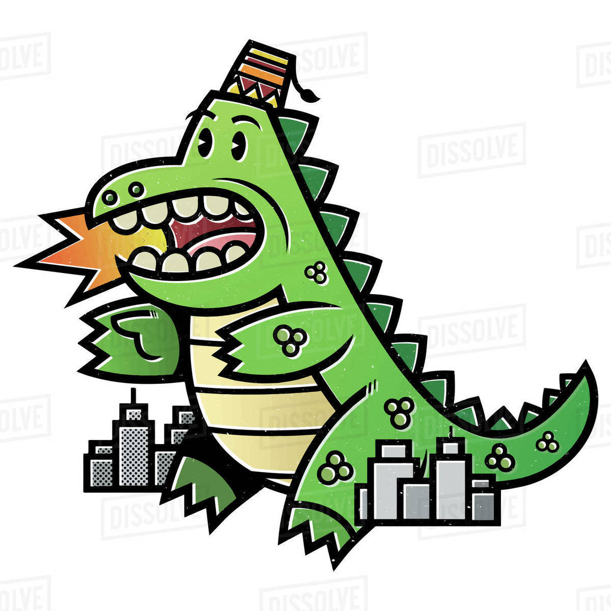 Cartoon illustration of dinosaur in city isolated on white background Royalty-free stock photo