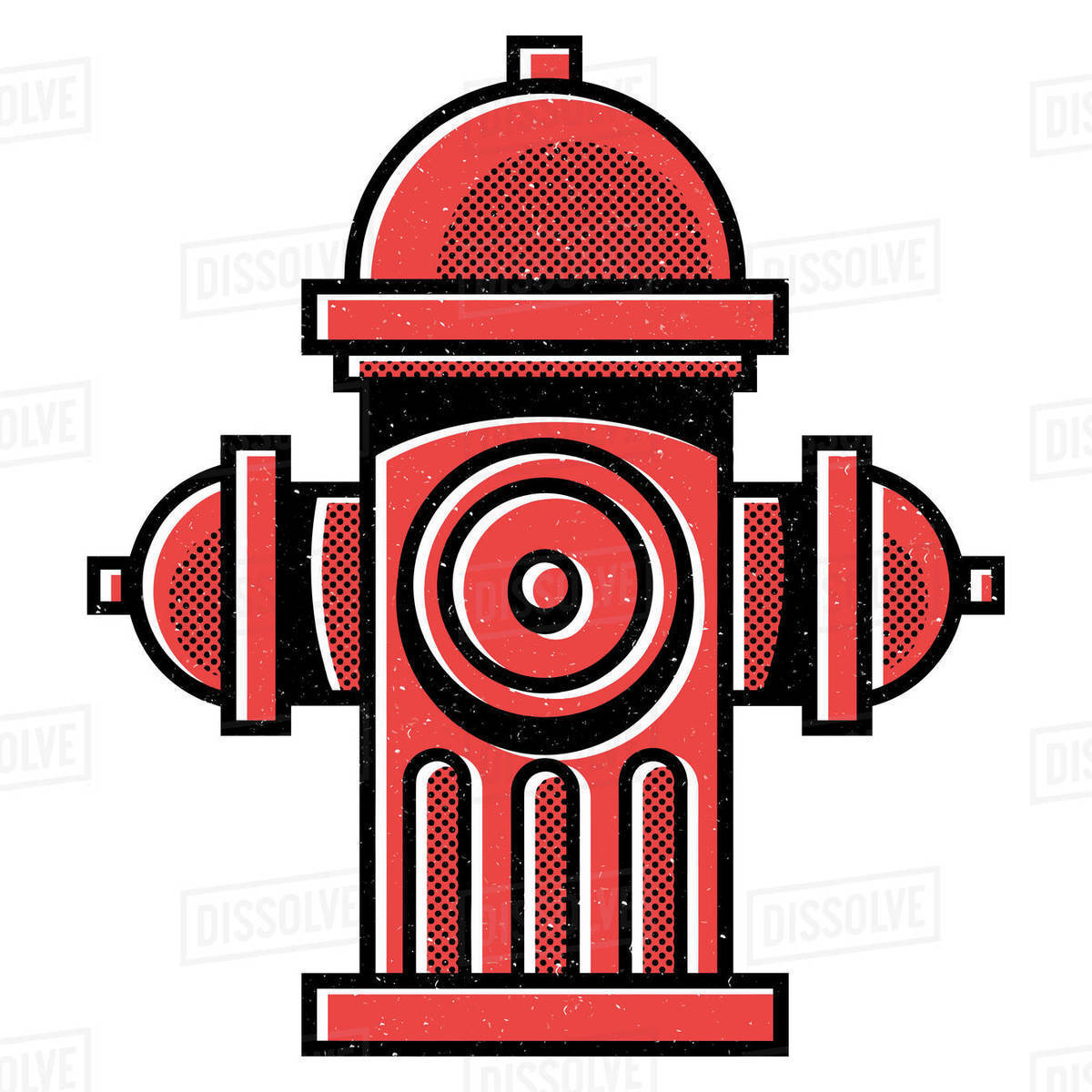 Illustration of red fire hydrant isolated on white background Royalty-free stock photo
