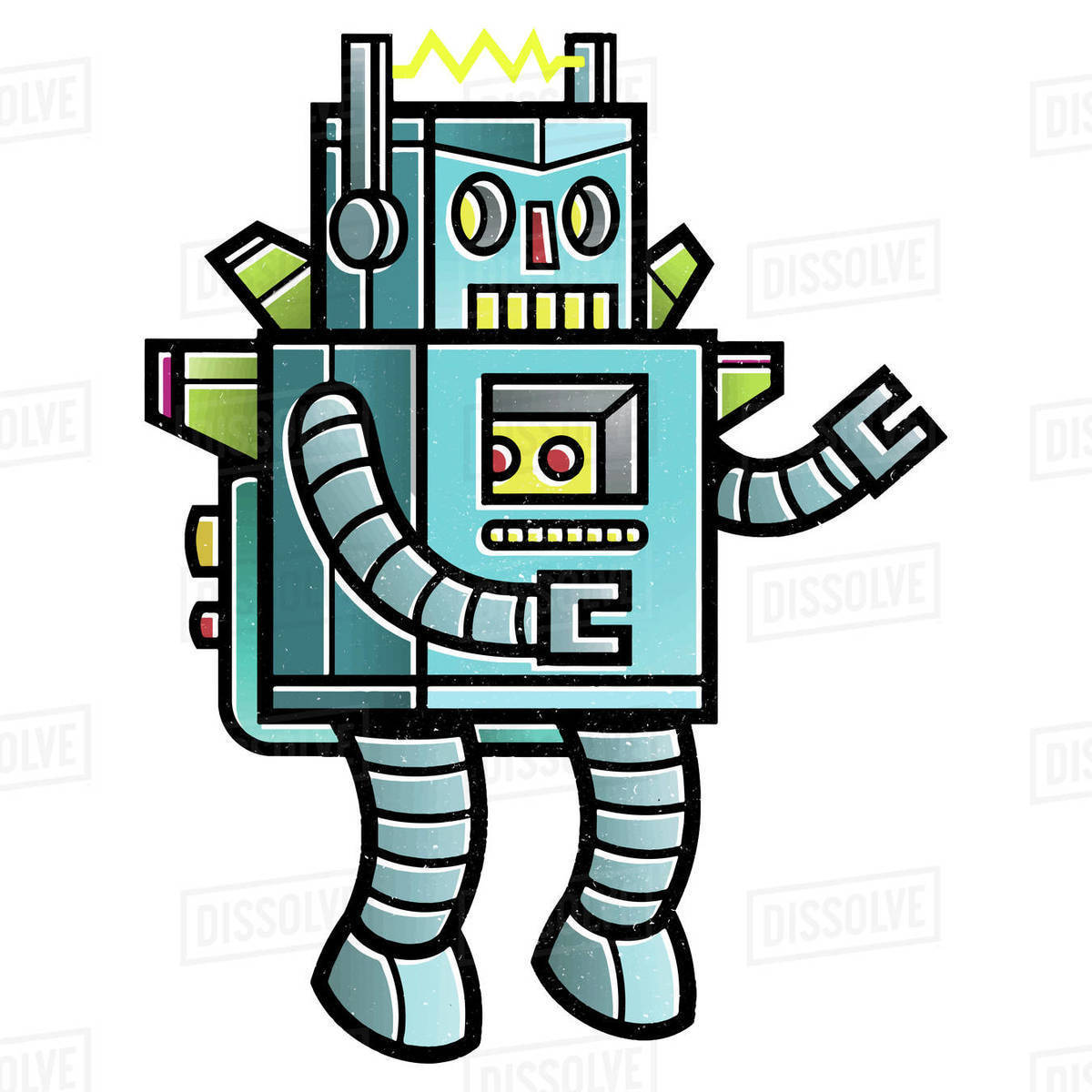 Cartoon illustration of flying robot on white background Royalty-free stock photo