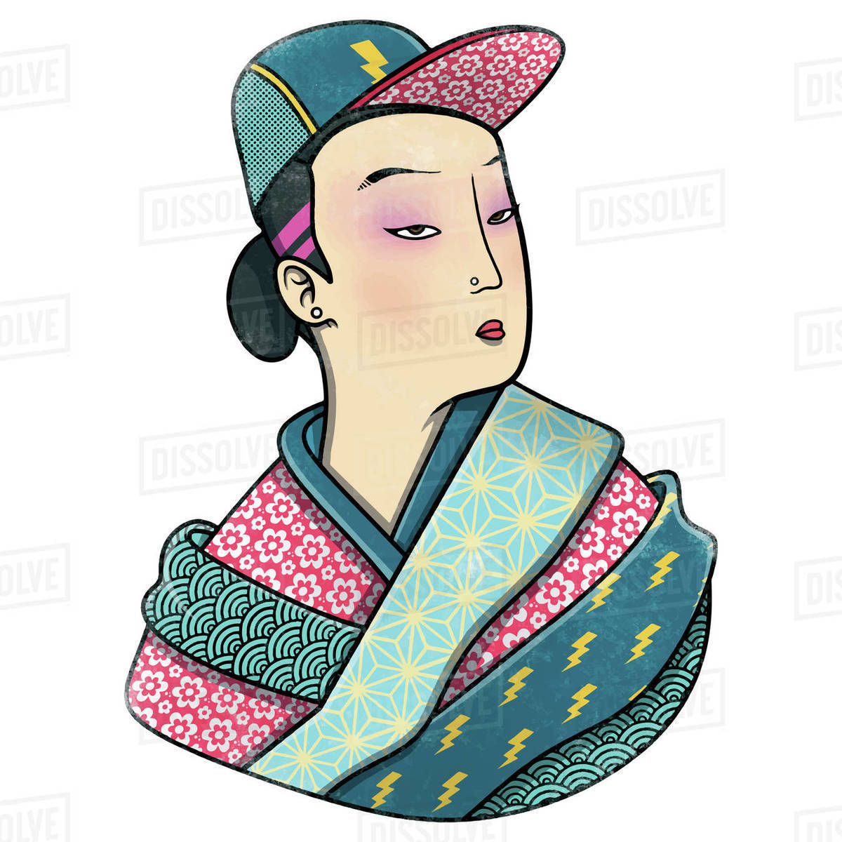 Illustration of a girl in kimono and cap isolated on white background Royalty-free stock photo