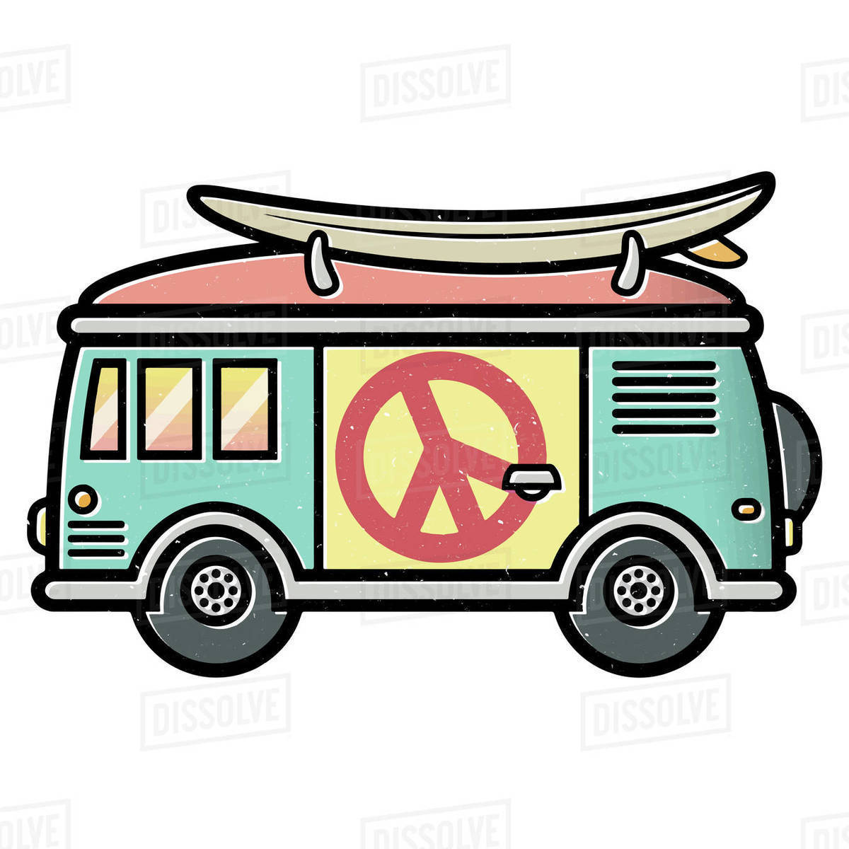 Illustration of hippy van with surfboard on top isolated on white background Royalty-free stock photo