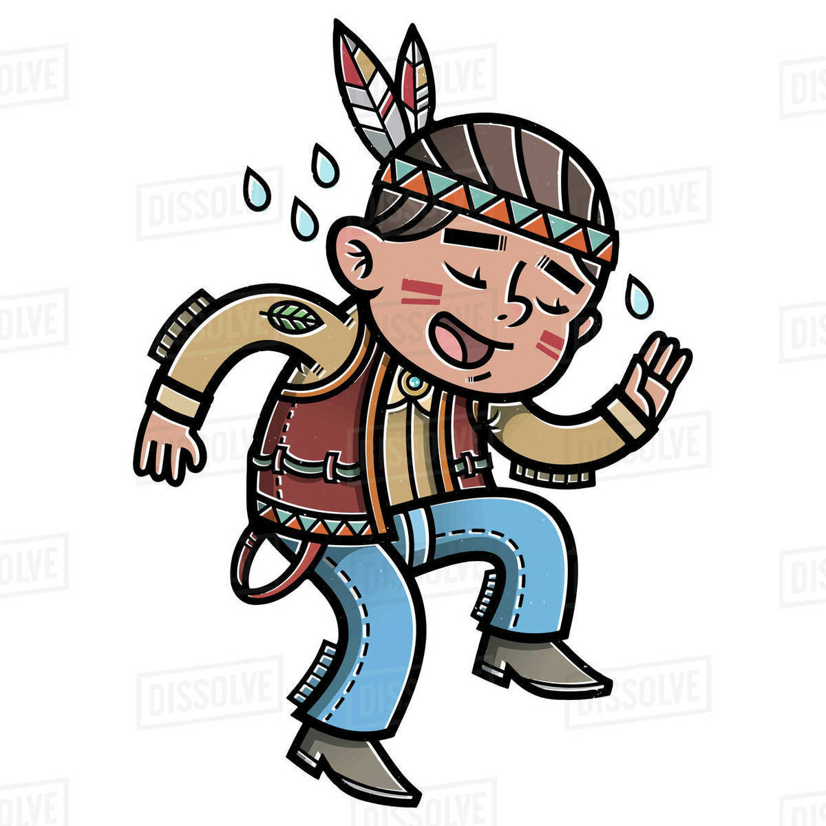 Cartoon illustration of native American boy dancing on white background Royalty-free stock photo